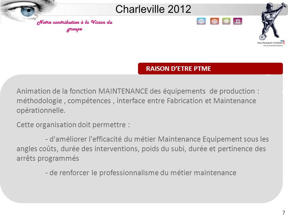 Site de Charleville 7 Animation de la fonction MAINTENANCE des équipements de production : méthodologie, compétences, interface entre Fabrication et M