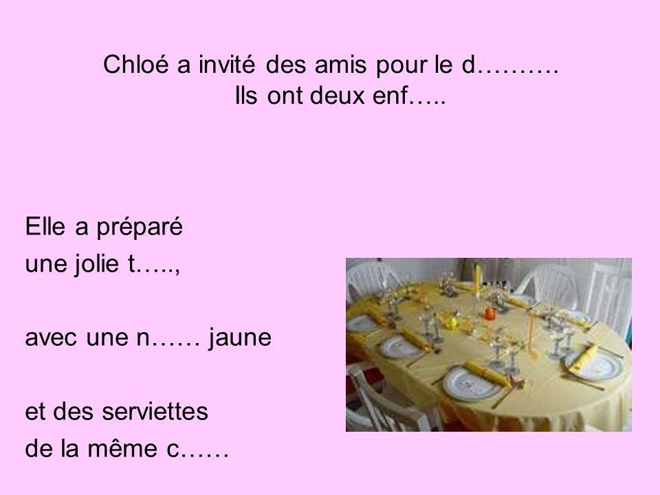 Elle a préparé une jolie t….., avec une n…… jaune et des serviettes de la même c…… Chloé a invité des amis pour le d……….