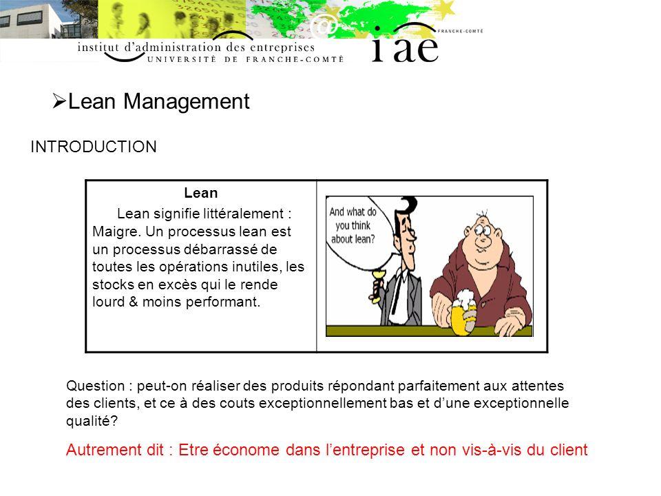 Lean Management INTRODUCTION Lean Lean signifie littéralement : Maigre. Un processus lean est un processus débarrassé de toutes les opérations inutile