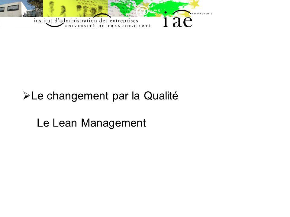 Le changement par la Qualité Le Lean Management