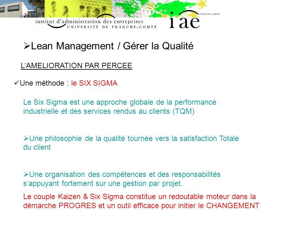 Lean Management / Gérer la Qualité LAMELIORATION PAR PERCEE Une méthode : le SIX SIGMA Le Six Sigma est une approche globale de la performance industr