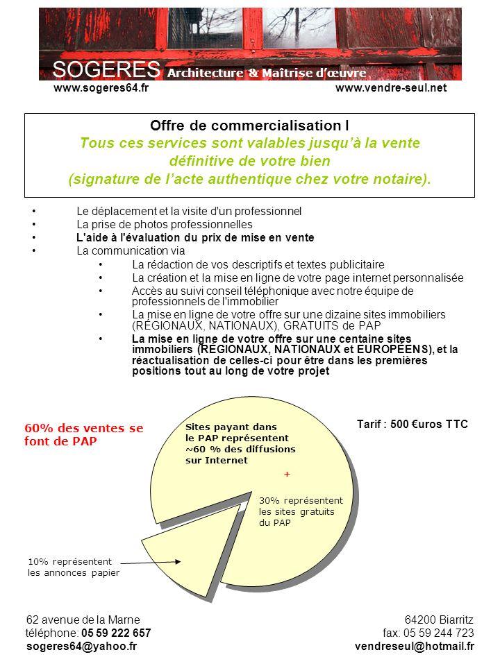 SOGERES Architecture & Maîtrise dœuvre 62 avenue de la Marne 64200 Biarritz téléphone: 05 59 222 657 fax: 05 59 244 723 sogeres64@yahoo.fr vendreseul@hotmail.fr www.sogeres64.fr www.vendre-seul.net Offre de commercialisation I Tous ces services sont valables jusquà la vente définitive de votre bien (signature de lacte authentique chez votre notaire).