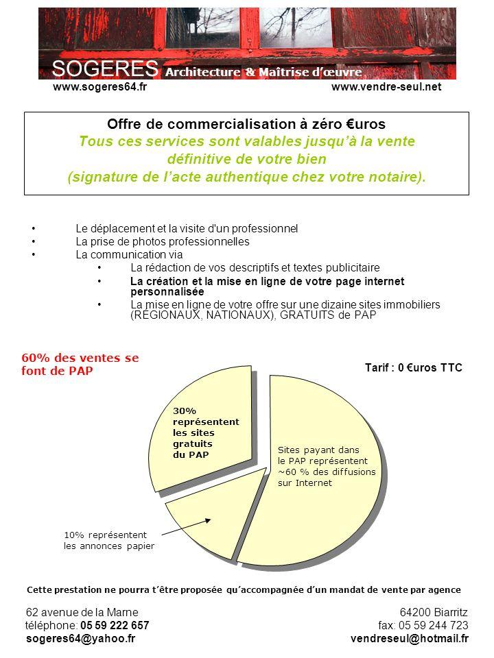 SOGERES Architecture & Maîtrise dœuvre 62 avenue de la Marne 64200 Biarritz téléphone: 05 59 222 657 fax: 05 59 244 723 sogeres64@yahoo.fr vendreseul@hotmail.fr www.sogeres64.fr www.vendre-seul.net Offre de commercialisation à zéro uros Tous ces services sont valables jusquà la vente définitive de votre bien (signature de lacte authentique chez votre notaire).