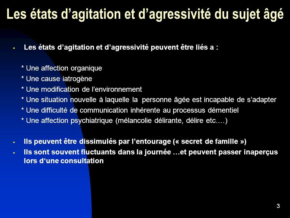 14 Les états dagressivité et dagitation du sujet âgé Traitement pharmacologique