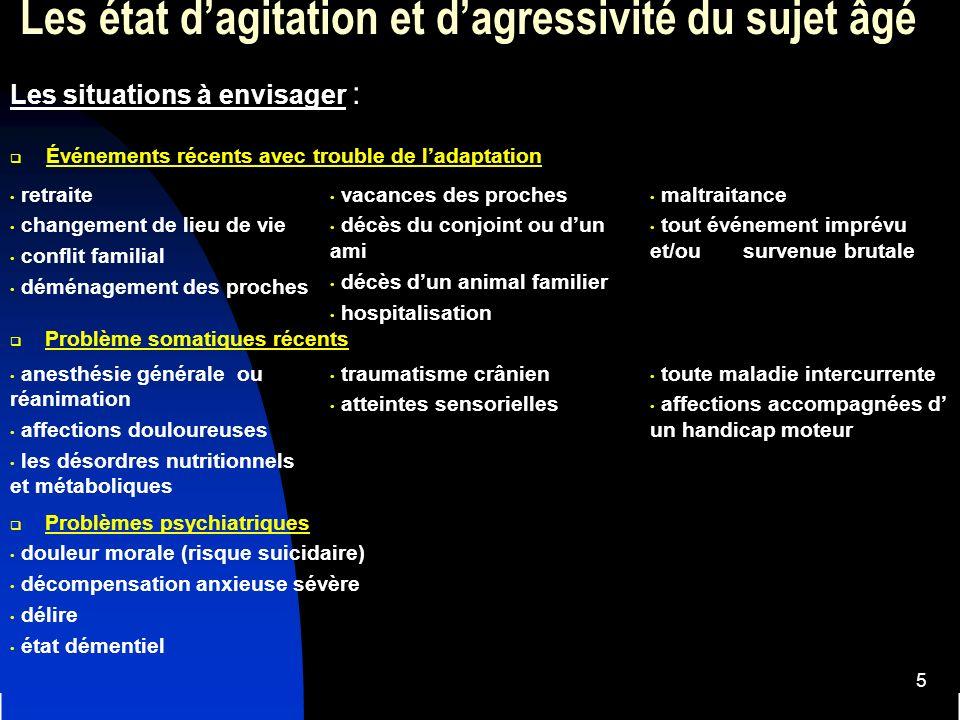 26 Les états dagressivité et dagitation du sujet âgé Stratégies recommandées dans lagitation et lagressivité 1.