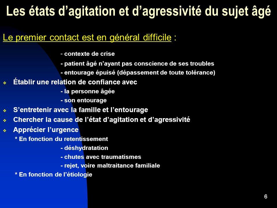 27 Les états dagressivité et dagitation du sujet âgé Stratégies recommandées dans lagitation et lagressivités 2.