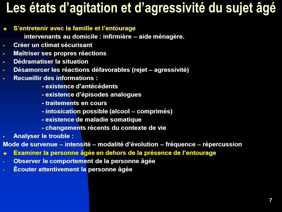 8 Les états dagressivité et dagitation du sujet âgé Recherche de diagnostic au plan médical : - existe-t-il un syndrome confusionnel .