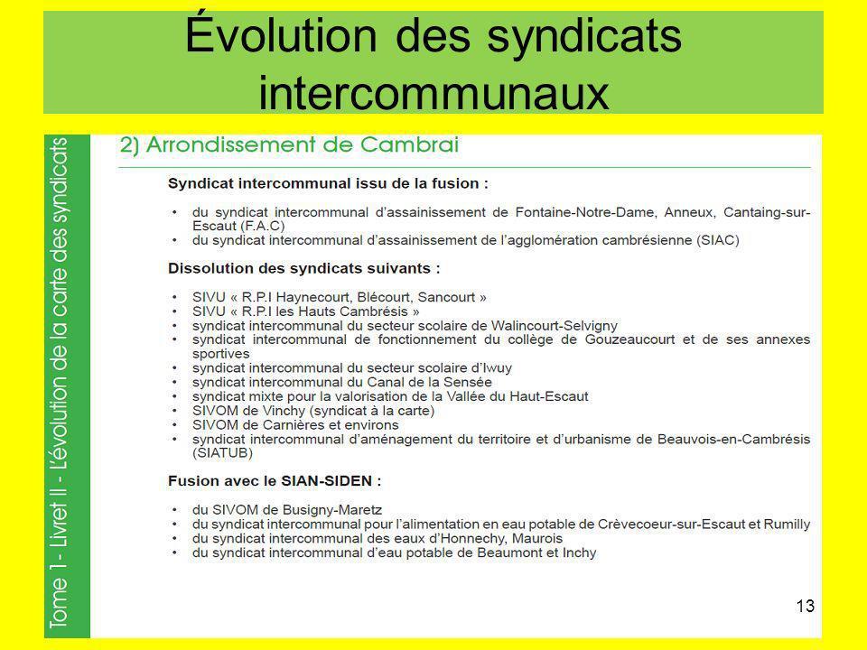 Évolution des syndicats intercommunaux 13