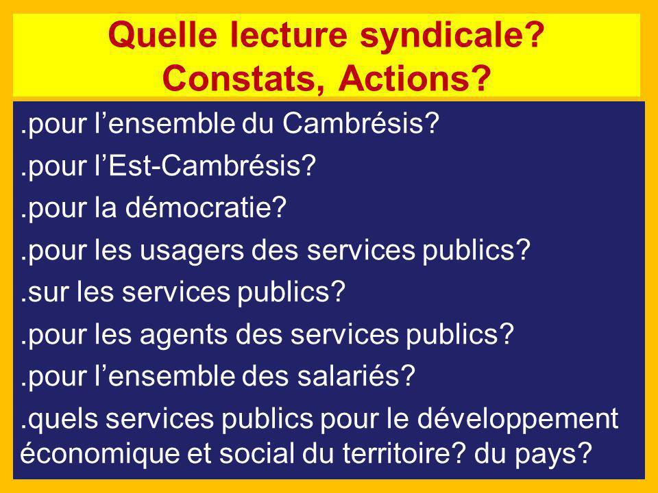 Quelle lecture syndicale? Constats, Actions?.pour lensemble du Cambrésis?.pour lEst-Cambrésis?.pour la démocratie?.pour les usagers des services publi