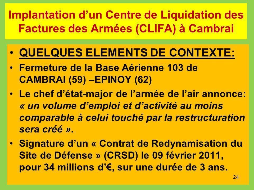 Implantation dun Centre de Liquidation des Factures des Armées (CLIFA) à Cambrai QUELQUES ELEMENTS DE CONTEXTE: Fermeture de la Base Aérienne 103 de C