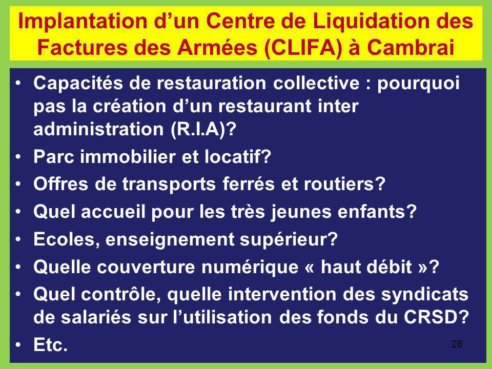 Implantation dun Centre de Liquidation des Factures des Armées (CLIFA) à Cambrai Capacités de restauration collective : pourquoi pas la création dun r
