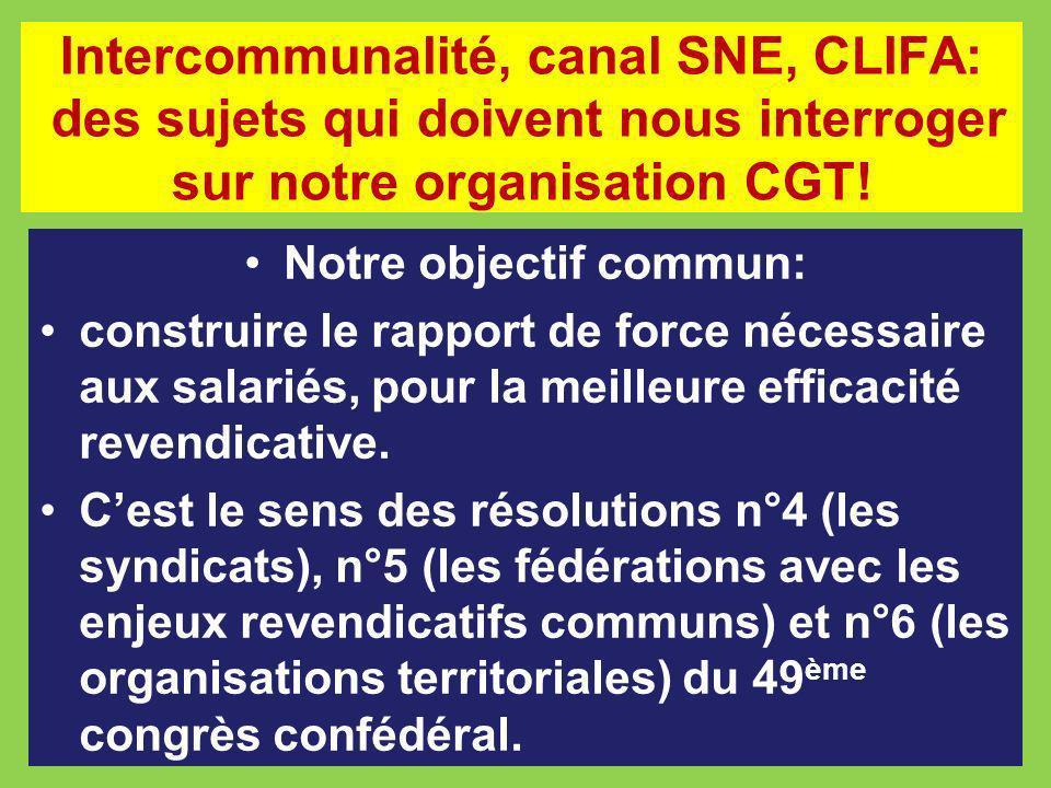 Intercommunalité, canal SNE, CLIFA: des sujets qui doivent nous interroger sur notre organisation CGT! Notre objectif commun: construire le rapport de