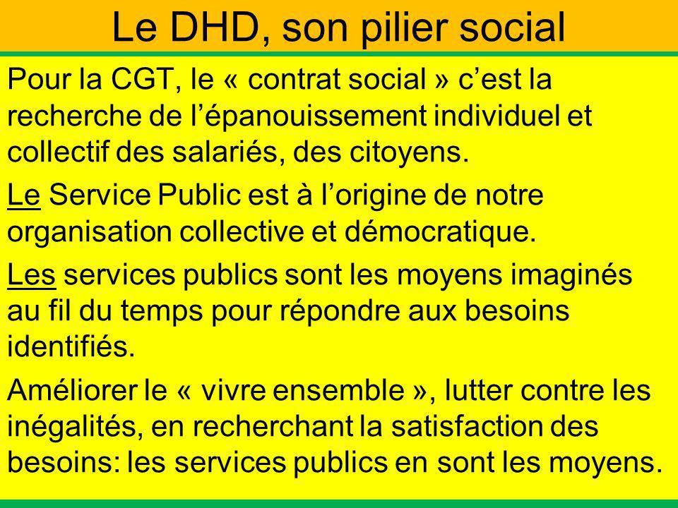 Le DHD, son pilier social Pour la CGT, le « contrat social » cest la recherche de lépanouissement individuel et collectif des salariés, des citoyens.
