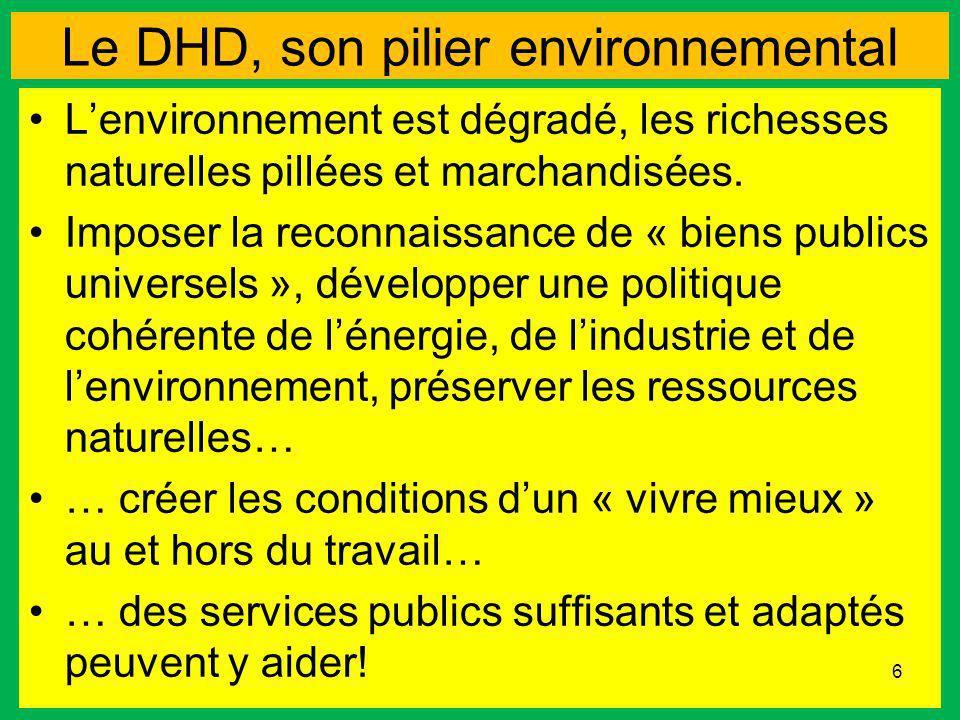 Le DHD, son pilier environnemental Lenvironnement est dégradé, les richesses naturelles pillées et marchandisées. Imposer la reconnaissance de « biens