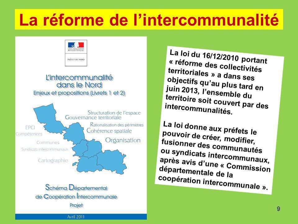 La réforme de lintercommunalité La loi du 16/12/2010 portant « réforme des collectivités territoriales » a dans ses objectifs quau plus tard en juin 2013, lensemble du territoire soit couvert par des intercommunalités.