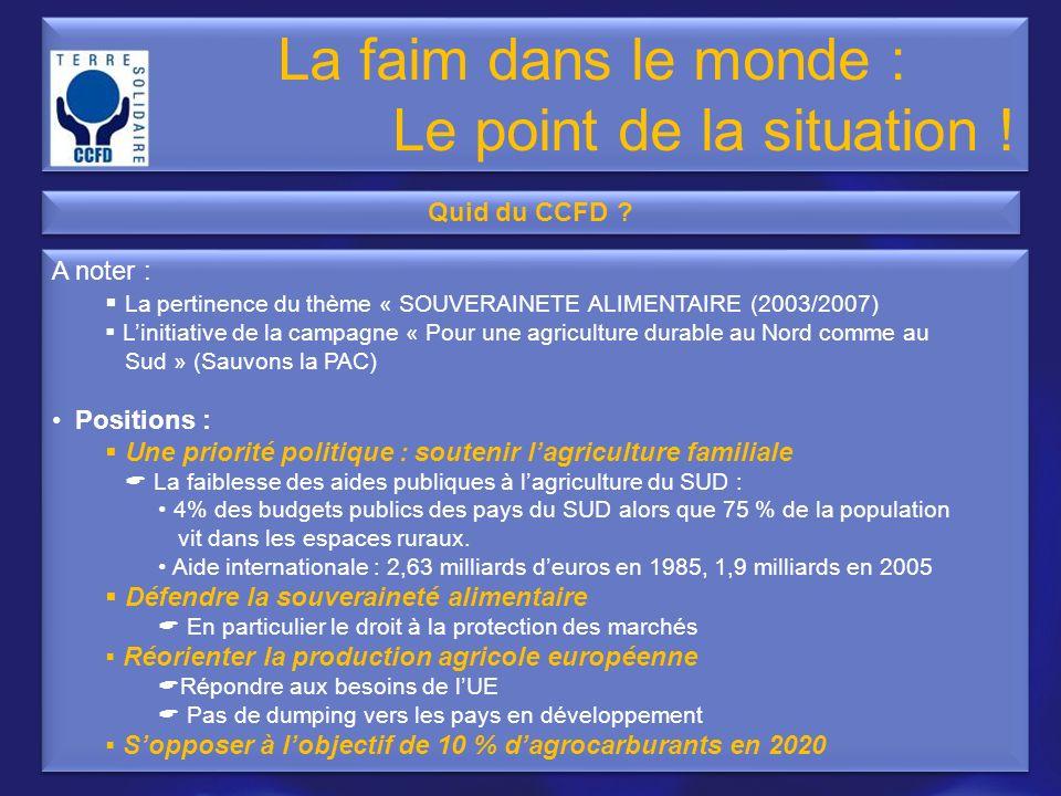 A noter : La pertinence du thème « SOUVERAINETE ALIMENTAIRE (2003/2007) Linitiative de la campagne « Pour une agriculture durable au Nord comme au Sud