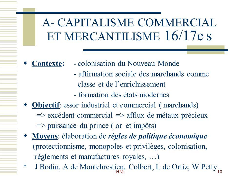 HM10 A- CAPITALISME COMMERCIAL ET MERCANTILISME 16/17e s Contexte : - colonisation du Nouveau Monde - affirmation sociale des marchands comme classe e