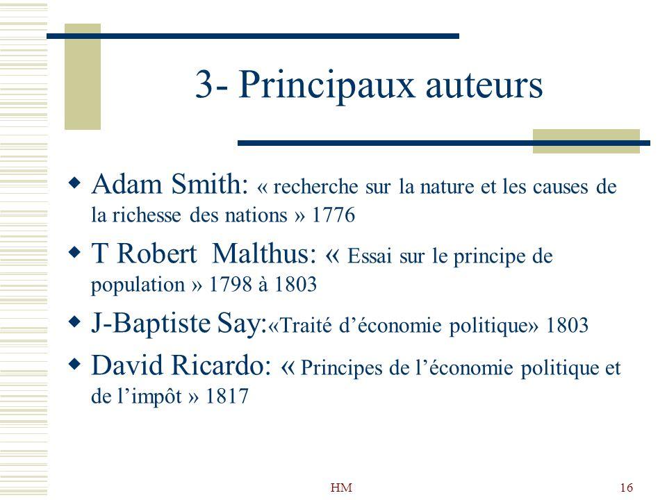 HM16 3- Principaux auteurs Adam Smith: « recherche sur la nature et les causes de la richesse des nations » 1776 T Robert Malthus: « Essai sur le prin