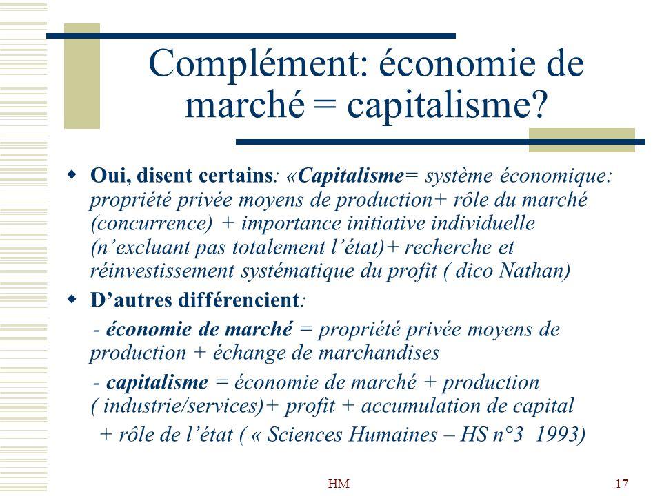 HM17 Complément: économie de marché = capitalisme? Oui, disent certains: «Capitalisme= système économique: propriété privée moyens de production+ rôle