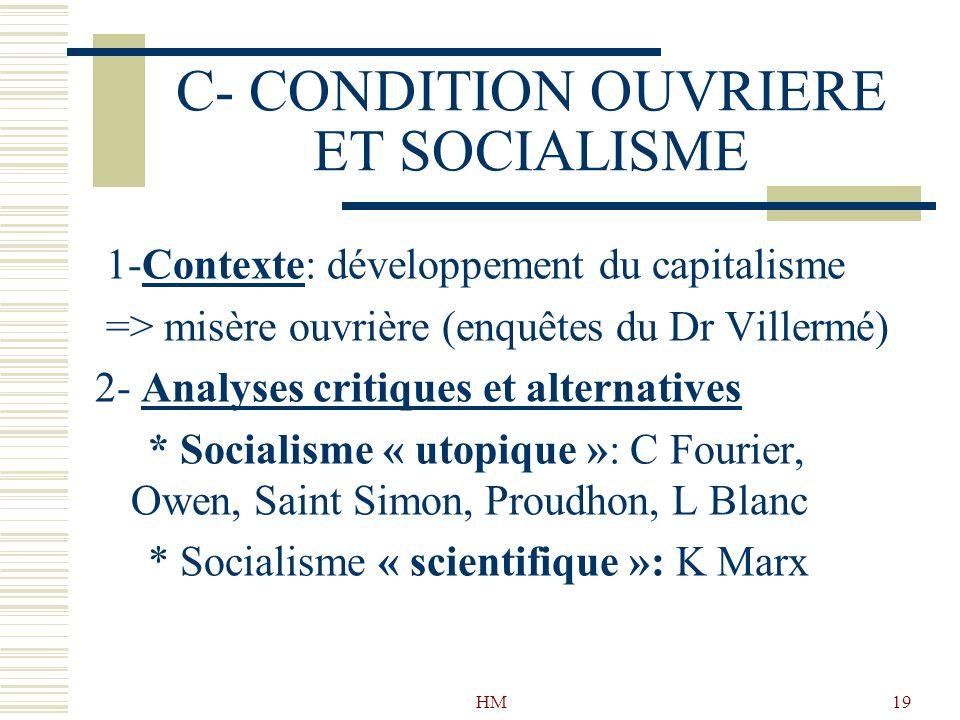 HM19 C- CONDITION OUVRIERE ET SOCIALISME 1-Contexte: développement du capitalisme => misère ouvrière (enquêtes du Dr Villermé) 2- Analyses critiques e