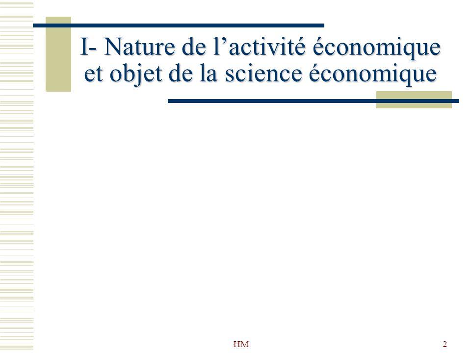 HM2 I- Nature de lactivité économique et objet de la science économique
