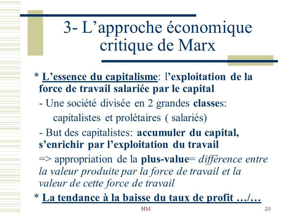 HM20 3- Lapproche économique critique de Marx * Lessence du capitalisme: lexploitation de la force de travail salariée par le capital - Une société di