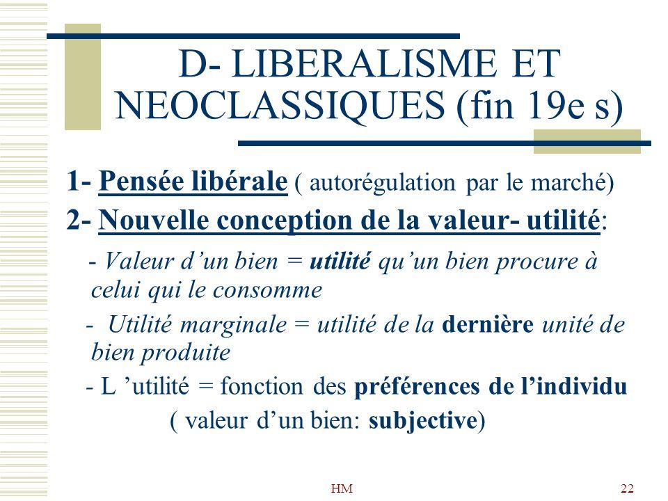 HM22 D- LIBERALISME ET NEOCLASSIQUES (fin 19e s) 1- Pensée libérale ( autorégulation par le marché) 2- Nouvelle conception de la valeur- utilité: - Va