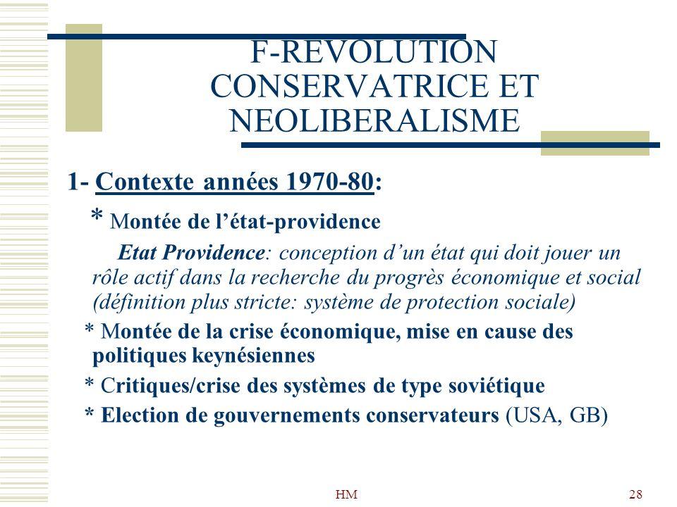 HM28 F-REVOLUTION CONSERVATRICE ET NEOLIBERALISME 1- Contexte années 1970-80: * Montée de létat-providence Etat Providence: conception dun état qui do