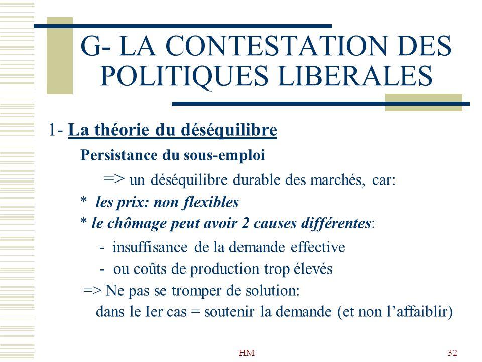 HM32 G- LA CONTESTATION DES POLITIQUES LIBERALES 1- La théorie du déséquilibre Persistance du sous-emploi => un déséquilibre durable des marchés, car: