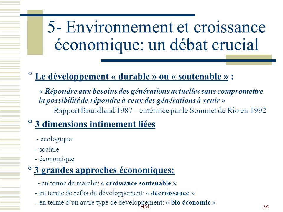 HM36 5- Environnement et croissance économique: un débat crucial ° Le développement « durable » ou « soutenable » : « Répondre aux besoins des générat