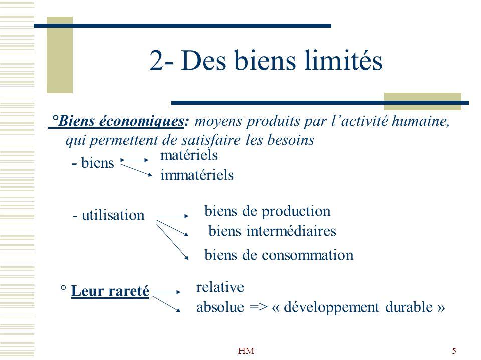 HM5 2- Des biens limités °Biens économiques: moyens produits par lactivité humaine, qui permettent de satisfaire les besoins - biens matériels immatér