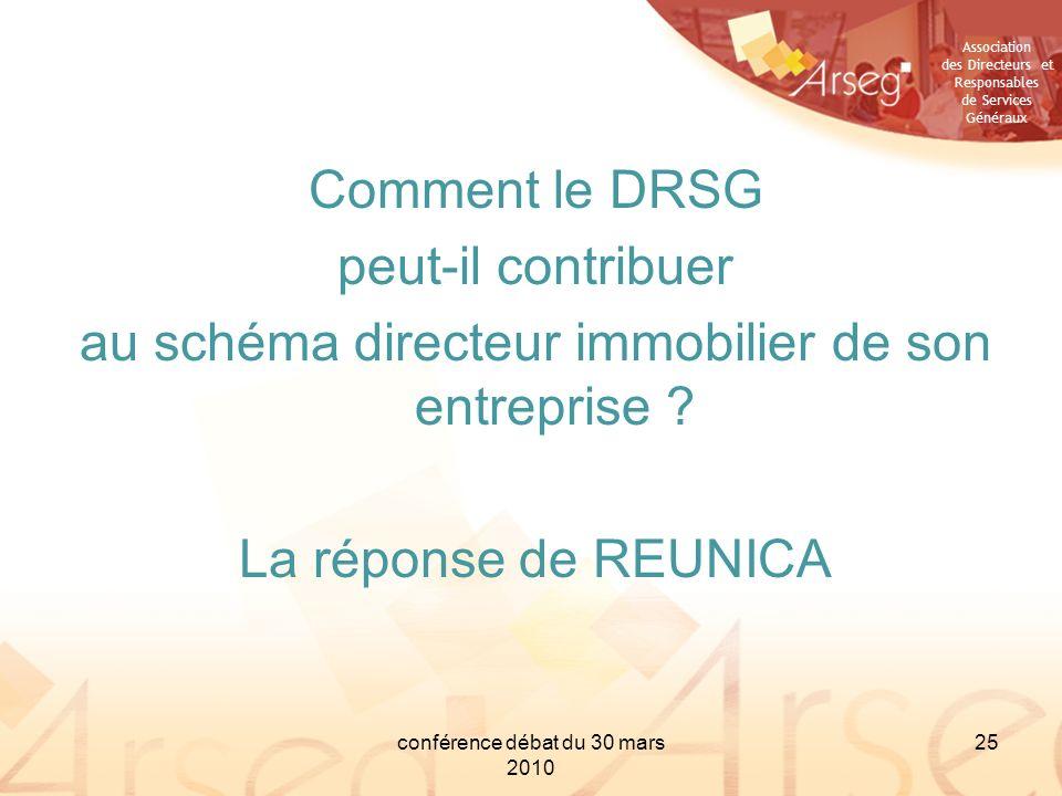 Association des Directeurs et Responsables de Services Généraux conférence débat du 30 mars 2010 25 Comment le DRSG peut-il contribuer au schéma direc