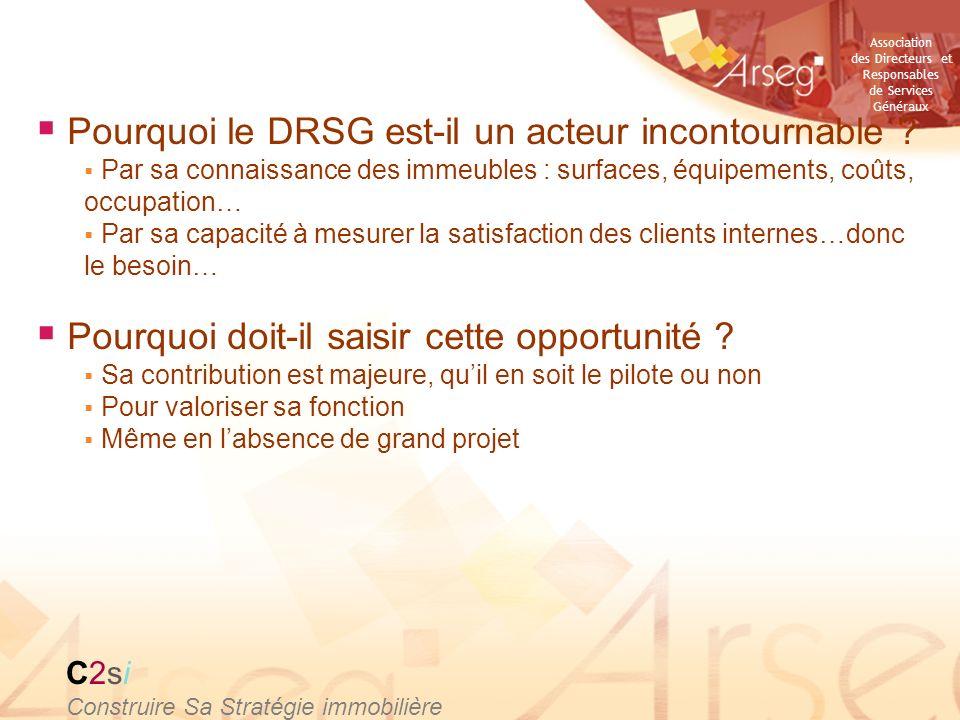 Association des Directeurs et Responsables de Services Généraux Pourquoi le DRSG est-il un acteur incontournable ? Par sa connaissance des immeubles :