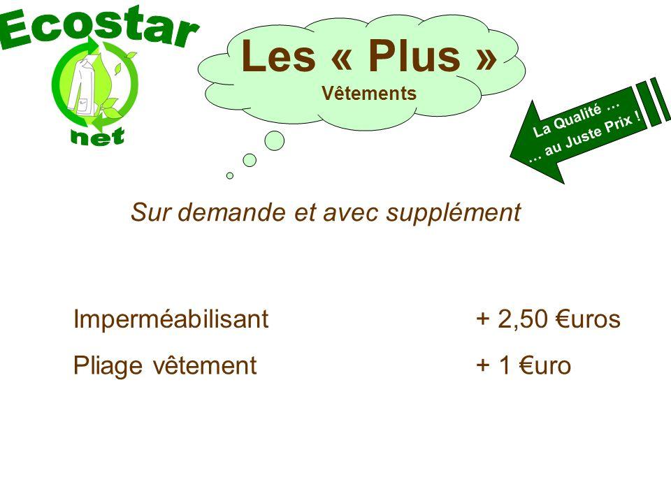 Sur demande et avec supplément Imperméabilisant+ 2,50 uros La Qualité … … au Juste Prix .