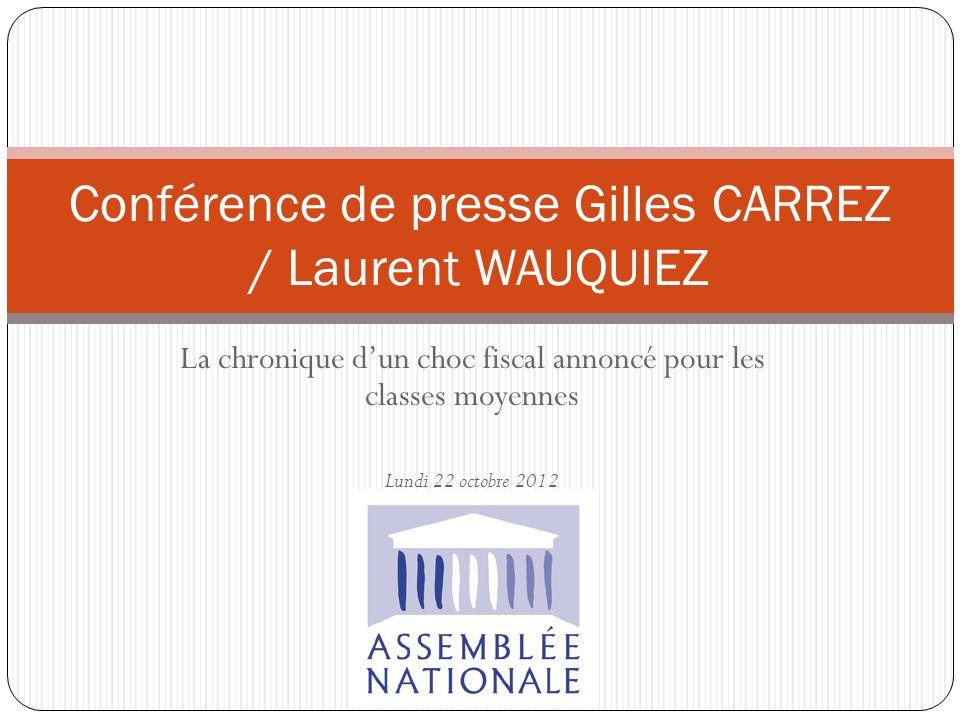 La chronique dun choc fiscal annoncé pour les classes moyennes Lundi 22 octobre 2012 Conférence de presse Gilles CARREZ / Laurent WAUQUIEZ