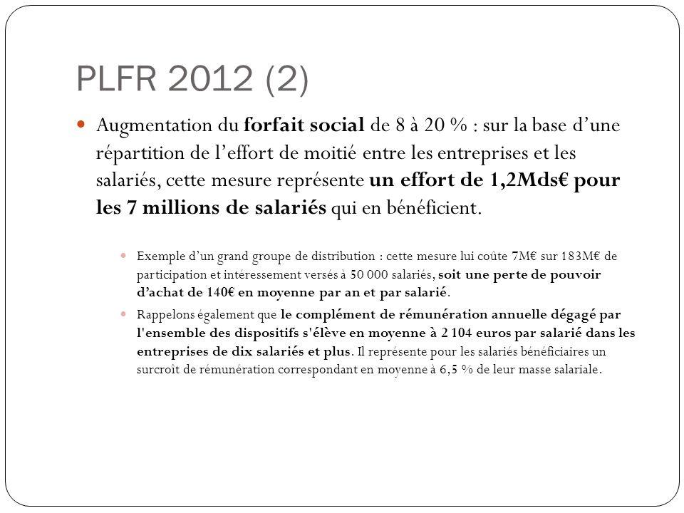 PLFR 2012 (2) Augmentation du forfait social de 8 à 20 % : sur la base dune répartition de leffort de moitié entre les entreprises et les salariés, cette mesure représente un effort de 1,2Mds pour les 7 millions de salariés qui en bénéficient.