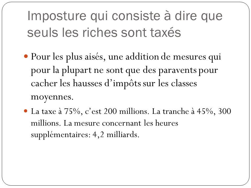 Au total, sur un effort demandé aux ménages de 15,8 Mds [6,9Mds (PLFR) + 4,7Mds (PLF) + 4,2Mds (PLFSS)] 10,25Mds auront été prélevés sur les classes moyennes, soit plus des 2/3 Inversement, 5,5Mds lauront été sur les plus aisés : 2Mds sur ISF 2012 et 2013; tranche à 45% : 300M; contribution de 75% : 200M; 3Mds de « barémisation » des revenus du capital Quand le gouvernement Ayrault prend 1 aux plus aisés, il en demande 2 aux classes moyennes