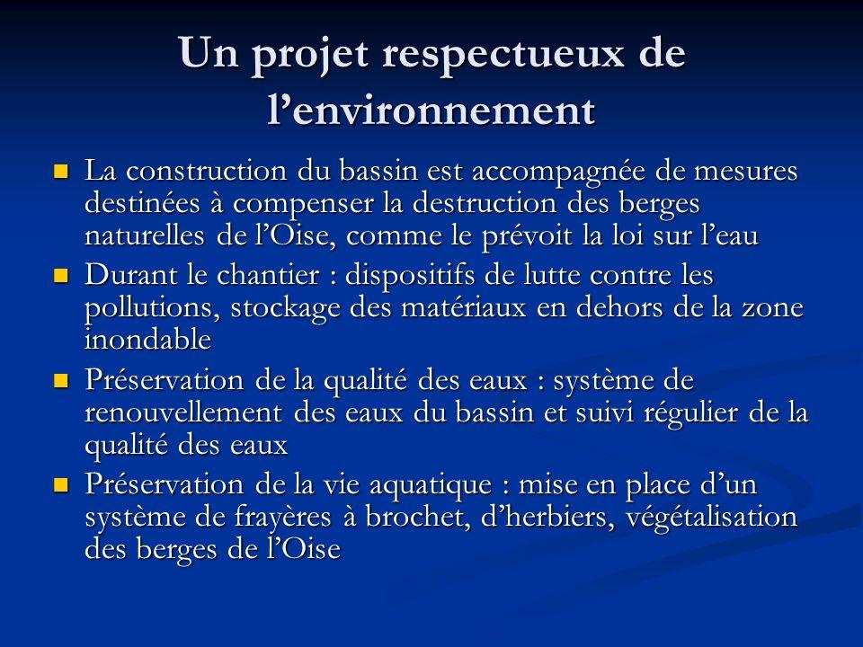 Un projet respectueux de lenvironnement La construction du bassin est accompagnée de mesures destinées à compenser la destruction des berges naturelle