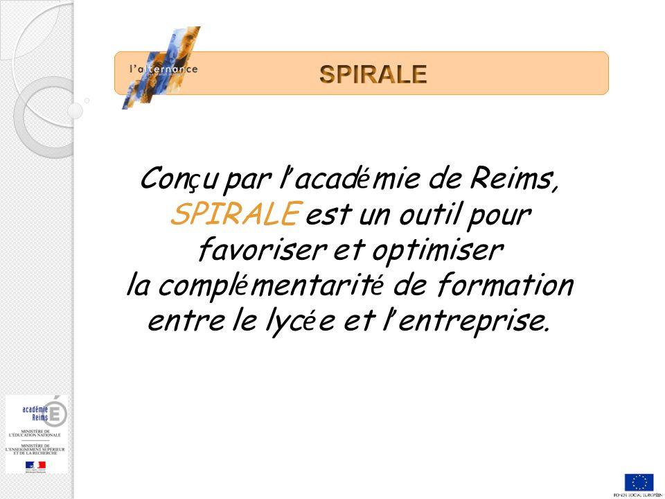 Con ç u par l acad é mie de Reims, SPIRALE est un outil pour favoriser et optimiser la compl é mentarit é de formation entre le lyc é e et l entreprise.