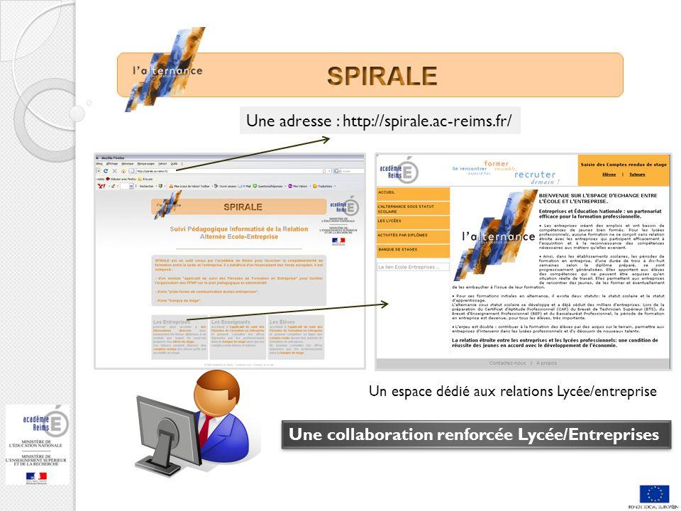 Une adresse : http://spirale.ac-reims.fr/ Une collaboration renforcée Lycée/Entreprises Un espace dédié aux relations Lycée/entreprise
