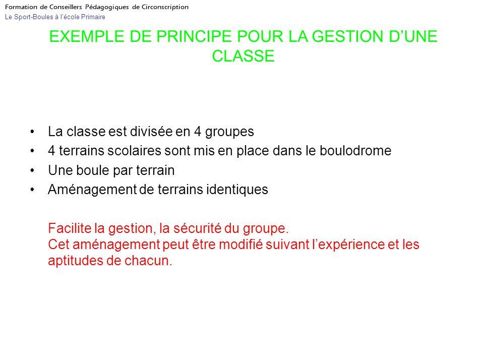 La classe est divisée en 4 groupes 4 terrains scolaires sont mis en place dans le boulodrome Une boule par terrain Aménagement de terrains identiques