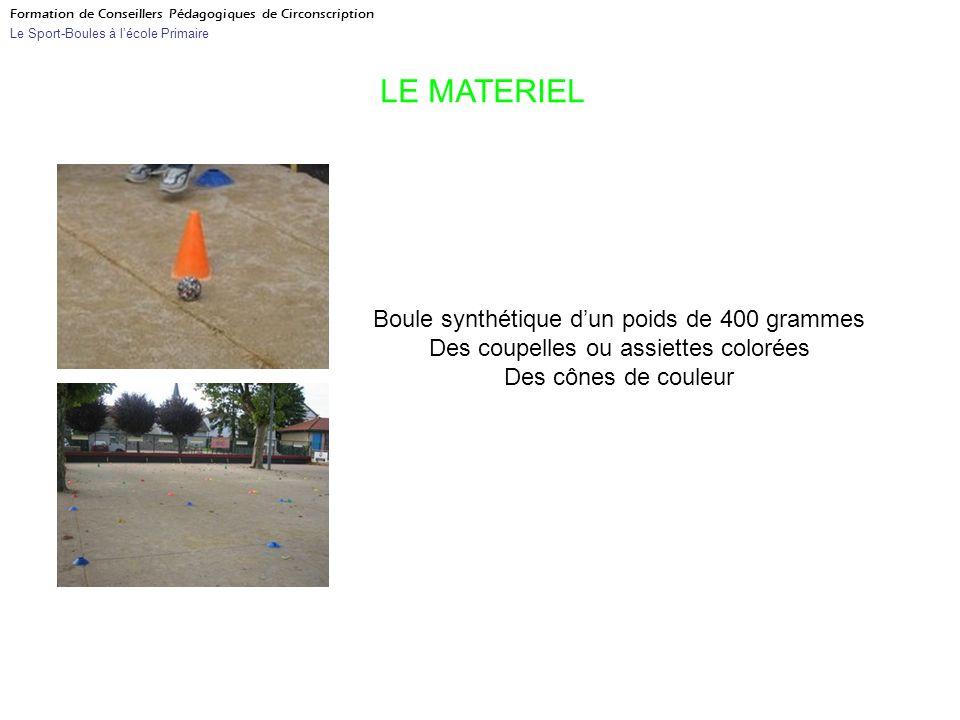 Formation de Conseillers Pédagogiques de Circonscription Le Sport-Boules à lécole Primaire LE MATERIEL Boule synthétique dun poids de 400 grammes Des