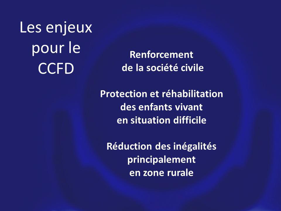 Les enjeux pour le CCFD Renforcement de la société civile Protection et réhabilitation des enfants vivant en situation difficile Réduction des inégalités principalement en zone rurale
