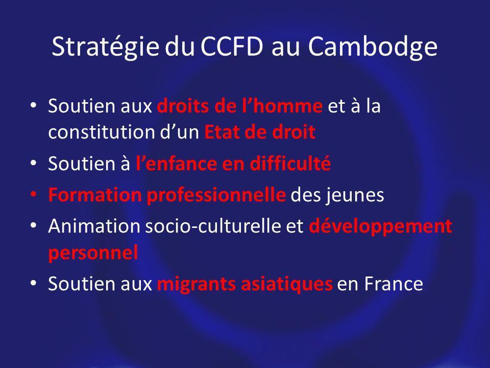 Stratégie du CCFD au Cambodge Soutien aux droits de lhomme et à la constitution dun Etat de droit Soutien à lenfance en difficulté Formation professionnelle des jeunes Animation socio-culturelle et développement personnel Soutien aux migrants asiatiques en France