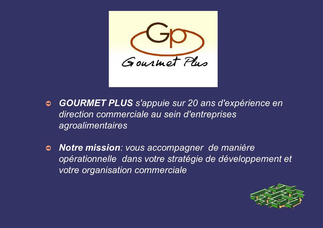GOURMET PLUS s'appuie sur 20 ans d'expérience en direction commerciale au sein d'entreprises agroalimentaires Notre mission: vous accompagner de maniè