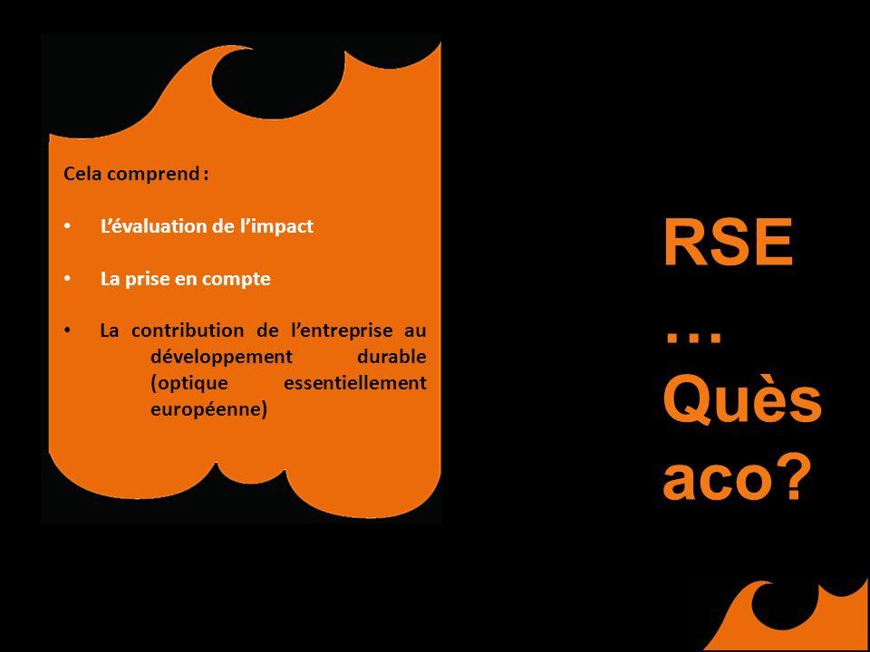 Cela comprend : Lévaluation de limpact La prise en compte La contribution de lentreprise au développement durable (optique essentiellement européenne) RSE … Quès aco