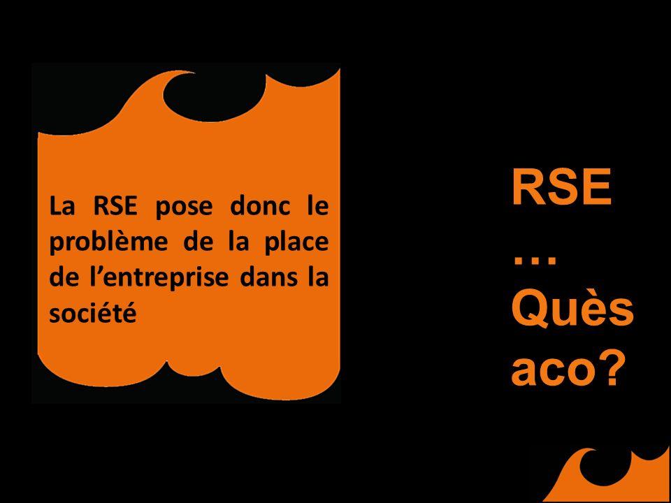 La RSE pose donc le problème de la place de lentreprise dans la société RSE … Quès aco