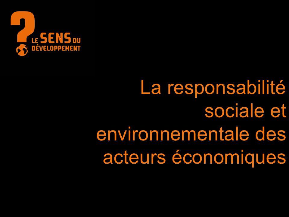 La responsabilité sociale et environnementale des acteurs économiques