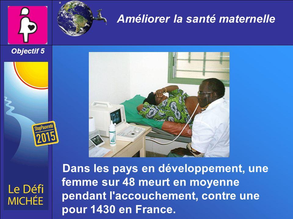 Améliorer la santé maternelle Dans les pays en développement, une femme sur 48 meurt en moyenne pendant l accouchement, contre une pour 1430 en France.