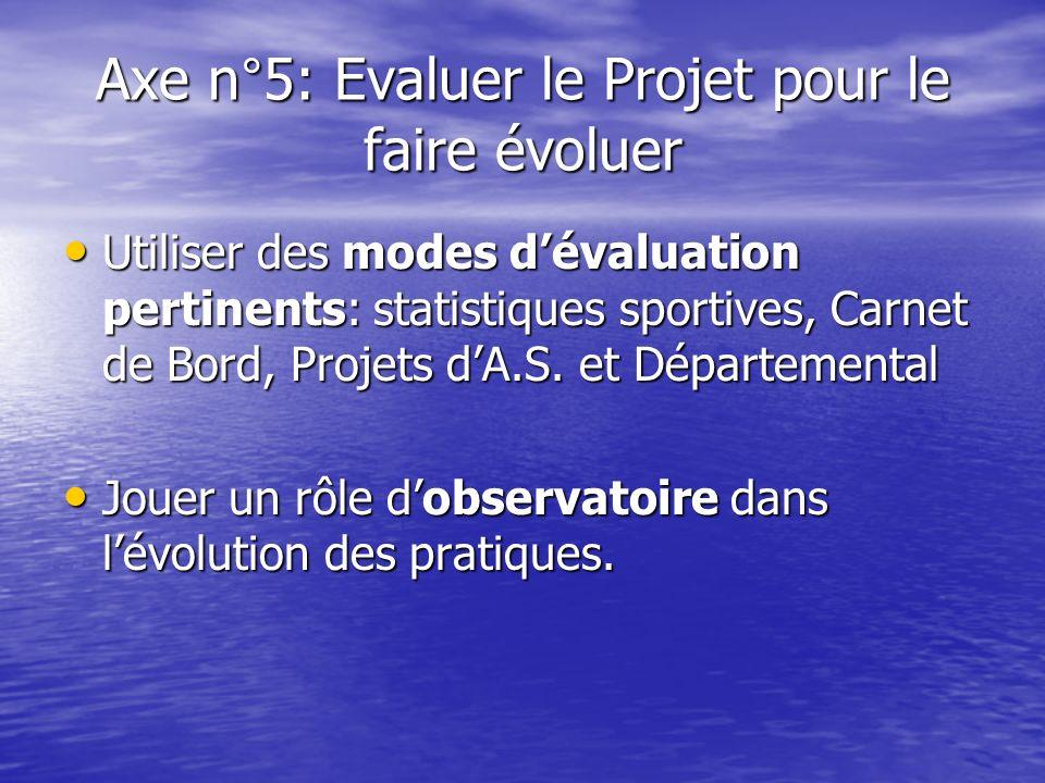 Axe n°5: Evaluer le Projet pour le faire évoluer Utiliser des modes dévaluation pertinents: statistiques sportives, Carnet de Bord, Projets dA.S. et D